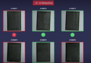 an image showing the results of machine vision detecting 2 defective microchips out of a set of 6