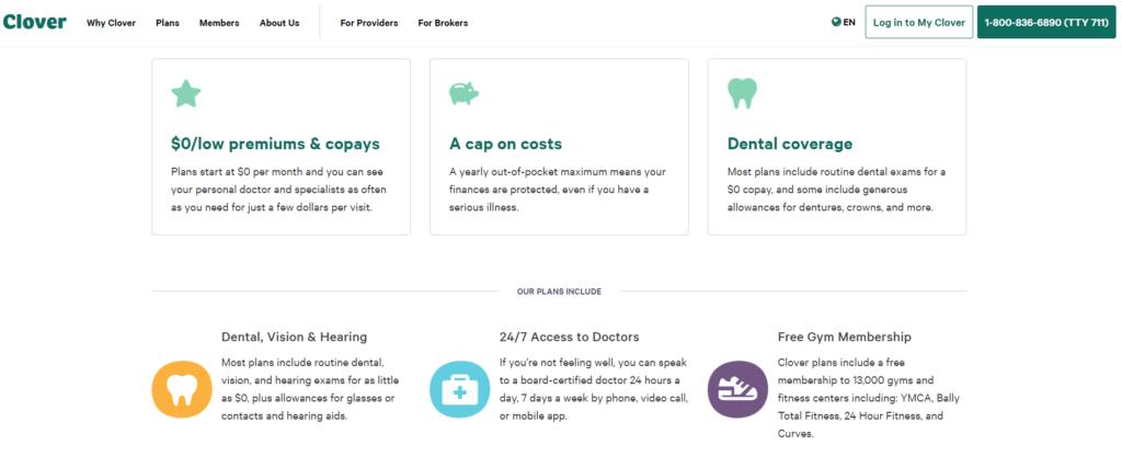 Clover insurance website screenshot