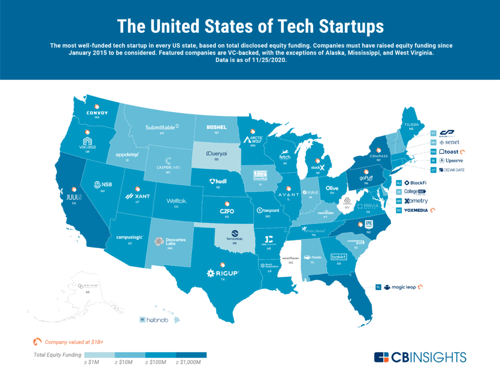 The United States Of Startups: The Most Well-Funded Tech Startup In Every US State